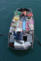 , Vietnam - 2007 File Photo -<br /> small boat full of merchandise in<br /> Ha Long Bay<br /> <br /> <br /> <br /> photo : James Wong-  Images Distribution