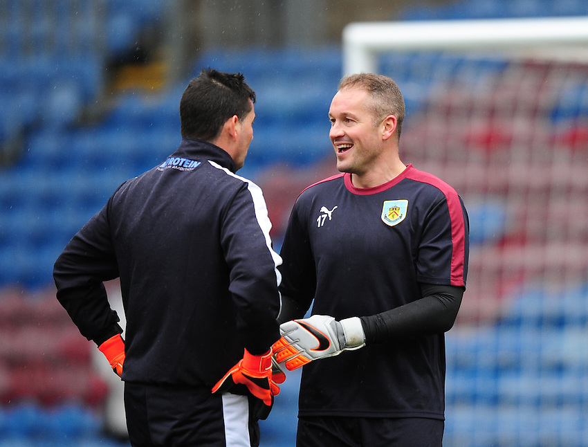 Burnley&rsquo;s goalkeeping coach Billy Mercer, left, and Burnley&rsquo;s Paul Robinson during the pre-match warm-up <br /> <br /> Photographer Chris Vaughan/CameraSport<br /> <br /> Football - The Football League Sky Bet Championship - Burnley v Hull City - Saturday 6th February 2016 - Turf Moor - Burnley <br /> <br /> &copy; CameraSport - 43 Linden Ave. Countesthorpe. Leicester. England. LE8 5PG - Tel: +44 (0) 116 277 4147 - admin@camerasport.com - www.camerasport.com