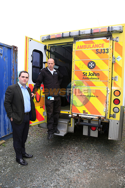Colin Maher St Johns Ambulance and Mayor Kevin Callan with the ambulance that was broken into.<br /> Picture www.newsfile.ie