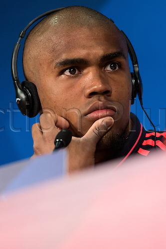 04.04.2016. Munich, Germany.   Douglas Costa of German Bundesliga   team FC Bayern Munich speaking at a final press conference at Allianz Arena in Munich, Germany, 4 April 2016. Bayern Munich meets Sport Lisbon Benfica (S.L. Benfica) in the first leg match of the Champions League quarter finals on 5th April 2016.