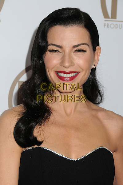 Julianna Margulies.At the 24th Annual Producers Guild Awards held at the Beverly Hilton Hotel, Beverly Hills, California, USA, .26th January 2013..PGAs PGA arrivals portrait headshot red lipstick strapless black  retro wavy hair beauty smiling .CAP/ADM/BP.©Byron Purvis/AdMedia/Capital Pictures.