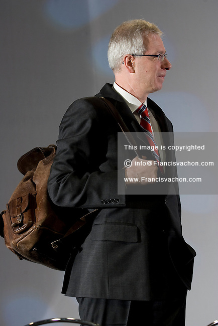 Stephane Dion, Member of Parliament for the Liberal Party of Canada, attends at the Federation of Canadian Municipalities (FCM) congress with his famous backpack in Quebec city Sunday June 1, 2008.