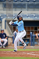 Charlotte Stone Crabs Garrett Whitley (16) bats during a Florida State League game against the Bradenton Maruaders on August 7, 2019 at Charlotte Sports Park in Port Charlotte, Florida.  Charlotte defeated Bradenton 2-0 in the first game of a doubleheader.  (Mike Janes/Four Seam Images)