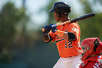 Baltimore Orioles Jean Carmona (52) at bat during a Florida Instructional League game against the Philadelphia Phillies on October 4, 2018 at Ed Smith Stadium in Sarasota, Florida.  (Mike Janes/Four Seam Images)