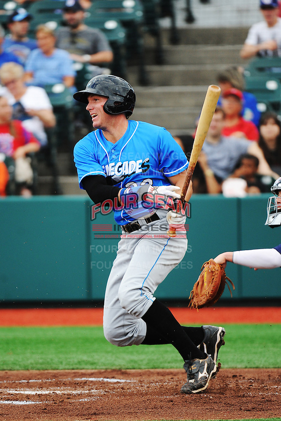 Hudson Valley Renegades outfielder Granden Goetzman (23) during game against the Brooklyn Cyclones at MCU Park on July 28, 2013 in Brooklyn, NY.  Brooklyn defeated Hudson Valley 4-2.  Tomasso DeRosa/Four Seam Images