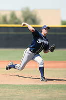 Eric Arnett of the Milwaukee Brewers pitches in an extended spring training game against the Seattle Mariners at the Mariners minor league complex on May 21, 2011  in Peoria, Arizona. .Photo by:  Bill Mitchell/Four Seam Images.