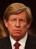 Washington, D.C. - April 13, 2004 --  United States Solicitor General Theodore &quot;Ted&quot; Olsen listens as Attorney General John Ashcroft testifies before the National Commission on Terrorist Attacks Upon the United States (the 9-11 Commission) in Washington, DC on April 13, 2004.  Olsen lost his wife, Barbara, in the hijacking of American Airlines flight 77 that crashed into the Pentagon on September 11, 2001.<br /> Credit: Ron Sachs / CNP<br /> [RESTRICTION: No New York Metro or other Newspapers within a 75 mile radius of New York City]