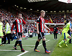John Fleck and Mark Duffy of Sheffield Utd enter the pitch during the Championship match at Bramall Lane, Sheffield. Picture date 26th August 2017. Picture credit should read: Simon Bellis/Sportimage
