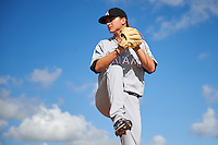 GCL Marlins pitcher Braxton Garrett (44) poses for a photo before the first game of a doubleheader against the GCL Cardinals on August 13, 2016 at Roger Dean Complex in Jupiter, Florida.  (Mike Janes/Four Seam Images)