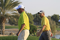 Lee Westwood (ENG) and Sergio Garcia (ESP) on the 18th hole during Thursday's Round 1 of the HSBC Golf Championship at the Abu Dhabi Golf Club, United Arab Emirates, 26th January 2012 (Photo Eoin Clarke/www.golffile.ie)