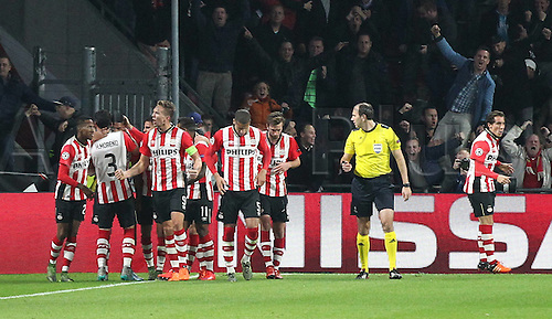 03.11.2015. Eindhoven, Holland, UEFA CHampions League football. PSV Eindhoven versus Wolfsburg.   Juergen Locadia (Eindhoven)  celebrates his goal for 1-0