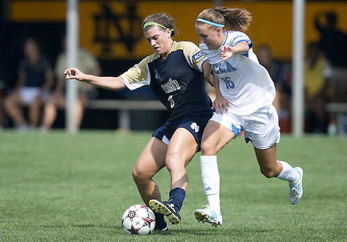 September 01, 2013:  Notre Dame forward Cari Roccaro (5) and UCLA midfielder Sarah Killion (16) ballet for the ball during NCAA Soccer match between the Notre Dame Fighting Irish and the UCLA Bruins at Alumni Stadium in South Bend, Indiana.  UCLA defeated Notre Dame 1-0.