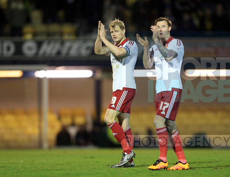 Sheffield United's Jay McEverley applauds the fans at the final whistle during the League One match at Roots Hall Stadium.  Photo credit should read: David Klein/Sportimage