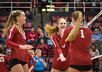 Stanford, CA - October 18, 2019: Kendall Kipp, Holly Campbell, Jenna Gray at Maples Pavilion. The No. 2 Stanford Cardinal swept the Colorado Buffaloes 3-0.