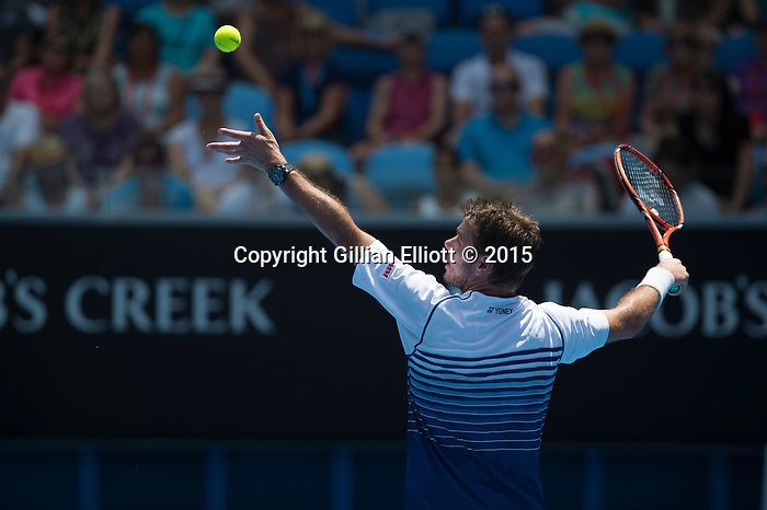 Stanislaus Wawrinka (SUI)  defeats Marius Copil (Rou), 7-6, 7-6, 6-3  at the Australian Open being played at Melbourne Park in Melbourne, Australia on January 22, 2015