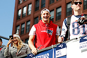 5th February 2019, Boston, Massachusetts, USA;  New England Patriots tight end Rob Gronkowski (87) during the New England Patriots Super Bowl Victory Parade on February 5th 2019, through the streets of Boston, Massachusetts.