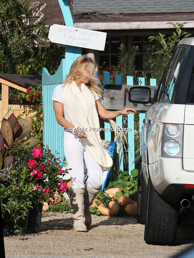 November 22nd 2010  Exclusive ..Pamela Anderson covering up while shopping at a nursery garden in Malibu California wearing all white pants scarf shirt Ugg boots showing off her g-string thong underwear.  It was extremely windy & Pam had trouble keeping her hair from blowing in her face. ...AbilityFilms@yahoo.com.805-427-3519.www.AbilityFilms.com..