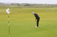 Aaron Marshall (Lisburn) on the 12th green during Round 2 of the Ulster Boys Championship at Portrush Golf Club, Portrush, Co. Antrim on the Valley course on Wednesday 31st Oct 2018.<br /> Picture:  Thos Caffrey / www.golffile.ie<br /> <br /> All photo usage must carry mandatory copyright credit (&copy; Golffile | Thos Caffrey)