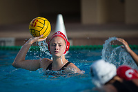 STANFORD, CA - February 4, 2018: Sarah Klass at Avery Aquatic Center. The Stanford Cardinal defeated Long Beach State 14-2.