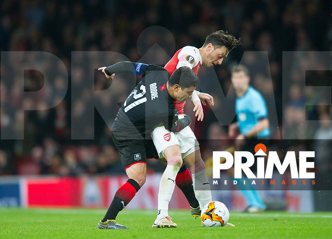 Arsenal's Mesut Ozil during the UEFA Europa League match between Arsenal and Rennes at the Emirates Stadium, London, England on 14 March 2019. Photo by Andrew Aleksiejczuk / PRiME Media Images.