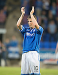 St Johnstone v Rosenborg....25.07.13  Europa League Qualifier<br /> David Wotherspoon applauds the fans at full time<br /> Picture by Graeme Hart.<br /> Copyright Perthshire Picture Agency<br /> Tel: 01738 623350  Mobile: 07990 594431