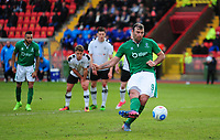 Lincoln City's Matt Rhead scores the equaliser from the penalty spot<br /> <br /> Photographer Andrew Vaughan/CameraSport<br /> <br /> Vanarama National League - Gateshead v Lincoln City - Monday 17th April 2017 - Gateshead International Stadium - Gateshead <br /> <br /> World Copyright &copy; 2017 CameraSport. All rights reserved. 43 Linden Ave. Countesthorpe. Leicester. England. LE8 5PG - Tel: +44 (0) 116 277 4147 - admin@camerasport.com - www.camerasport.com