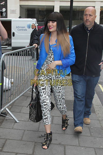 Jessie J (Jessica Ellen Cornish) at BBC Radio 1, London, England..May 31st, 2012.full length black white print jumpsuit blue blazer jacket bag purse open toe boots dyed hair blonde fringe bangs hair walking .CAP/HIL.©John Hillcoat/Capital Pictures.