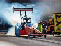 Jun 15, 2018; Bristol, TN, USA; NHRA top fuel driver Mike Salinas during qualifying for the Thunder Valley Nationals at Bristol Dragway. Mandatory Credit: Mark J. Rebilas-USA TODAY Sports
