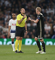 Referee Antonio Mateu Lahoz has words with Donny van de Beek of Ajax<br /> <br /> Photographer Rob Newell/CameraSport<br /> <br /> UEFA Champions League - Tottenham Hotspur v Ajax - Tuesday 30th April 2019 - White Hart Lane - London<br />  <br /> World Copyright © 2018 CameraSport. All rights reserved. 43 Linden Ave. Countesthorpe. Leicester. England. LE8 5PG - Tel: +44 (0) 116 277 4147 - admin@camerasport.com - www.camerasport.com