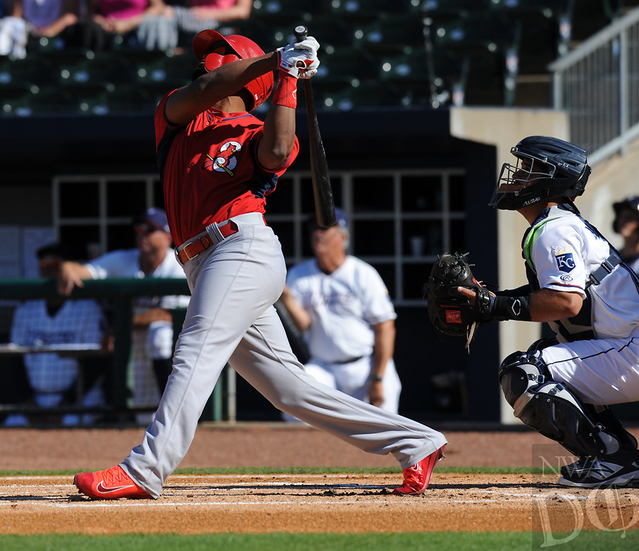 NWA Democrat-Gazette/ANDY SHUPE<br /> Northwest Arkansas Naturals Springfield Cardinals Wednesday, June 7, 2017, during the inning at Arvest Ballpark in Springdale. Visit nwadg.com/photos to see more photographs from the game.