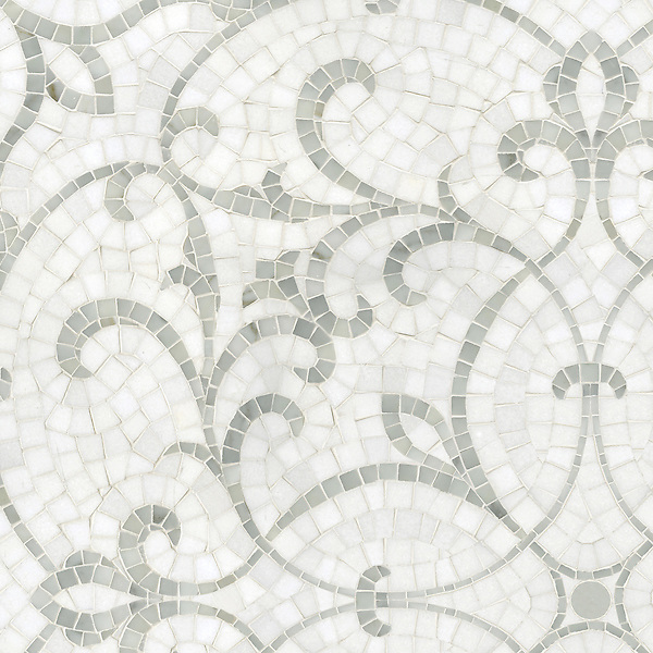 Marabel, a handmade mosaic shown in honed Thassos and polished Afyon White, is part of the Silk Road Collection by Sara Baldwin for New Ravenna.