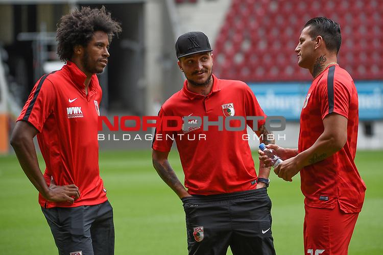 06.08.2017, WWK-Arena, Augsburg, GER, 1.FBL, Testspiel,FC Augsburg vs PSV Eindhoven, im Bild<br /> <br /> v-l-n-r  Francisco da Silva CAIUBY (FC Augsburg #30), Konstatinos STAFYLIDIS (FC Augsburg #3), Raul BOBADILLA (FC Augsburg #25)<br /> <br /> Foto © nordphoto / Schreyer