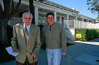Ninety year old Raul Fernandes heads to the polls with his son Steve in Point Loma on Super Tuesday, February 5 2008.