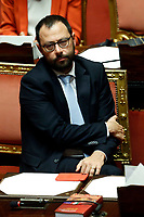 Minister of Economic Development Stefano Patuanelli<br /> Rome September 10th 2019. Senate. Discussion and Trust vote at the new Government. <br /> Foto  Samantha Zucchi Insidefoto