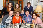 Enjoying a night out in Bella Bia restaurant, Tralee on Saturday night last were front l-r: William Wall, Shirley Higgins, Ethan Ward Higgins, Chris Higgins and Trish Higgins. Rosaleen Higgins, Christine Higgins and Daniel Ward.