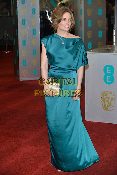 guest.Arrivals at the EE British Academy Film Awards at The Royal Opera House, London, England..10th February 2013.BAFTA BAFTAS full length blue teal silk satin dress clutch bag   .CAP/PL.©Phil Loftus/Capital Pictures