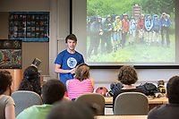 """Donovan Dennis '16, a geology major from Great Falls, Minn., presents his talk in Hameetman Science Center room 202 called, """"The Liberal Arts on Ice: Stories, photos, and lessons from a summer field season with the Juneau Icefield Research Program"""" in which he details his summer spent traversing more than 150 miles of the Juneau Icefield, a complex of glaciers stretching from the Alaskan panhandle into British Columbia, to reconstruct ancient temperature and climate records by measuring oxygen and hydrogen isotopes present in samples drawn from the rapidly shrinking glaciers. He shared photos, stories, showed some of the gear he used and his research, plus the benefits a liberal arts education. The talk was on Sept. 18, 2015.<br /> (Photo by Marc Campos, Occidental College Photographer)"""