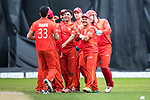 Ehsan Khan of HKI United celebrates (C) with his team after taking the wicket during the Hong Kong T20 Blitz match between Kowloon Cantons and HKI United at Tin Kwong Road Recreation Ground on March 11, 2017 in Hong Kong, Hong Kong. Photo by Chris Wong / Power Sport Images
