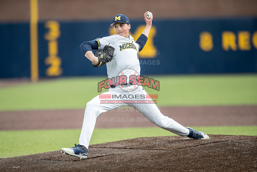 Michigan Wolverines pitcher Tommy Henry (47) delivers a pitch to the plate against the Maryland Terrapins on April 13, 2018 in a Big Ten NCAA baseball game at Ray Fisher Stadium in Ann Arbor, Michigan. Michigan defeated Maryland 10-4. (Andrew Woolley/Four Seam Images)