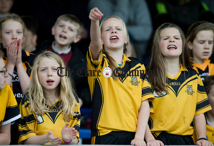 Ballyea girls cheer on their team at the Cumann na mBunscoil Finals at Cusack Park. Photograph by John Kelly.