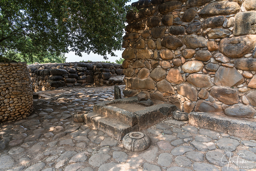 The King's Seat by the gate to the Old Testament city of Dan in the Tel Dan Nature Reserve in Galilee in northern Israel.