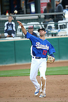 Michael Ahmed (12) of the Rancho Cucamonga Quakes throws during a game against the Lake Elsinore Storm at LoanMart Field on April 10, 2016 in Rancho Cucamonga, California. Lake Elsinore defeated Rancho Cucamonga, 7-6. (Larry Goren/Four Seam Images)