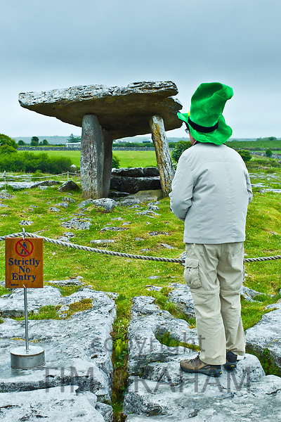 Poulnabrone Dolmen megalythic burial tomb in The Burren glaciated karst landscape pavement, County Clare, Ireland