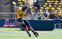 Giorgio Tavecchio kicks the ball. The California Golden Bears defeated the UCLA Bruins 35-7 at Memorial Stadium in Berkeley, California on October 9th, 2010.