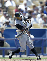 Junior Spivey of the Arizona Diamondbacks bats during a 2002 MLB season game against the Los Angeles Dodgers at Dodger Stadium, in Los Angeles, California. (Larry Goren/Four Seam Images)