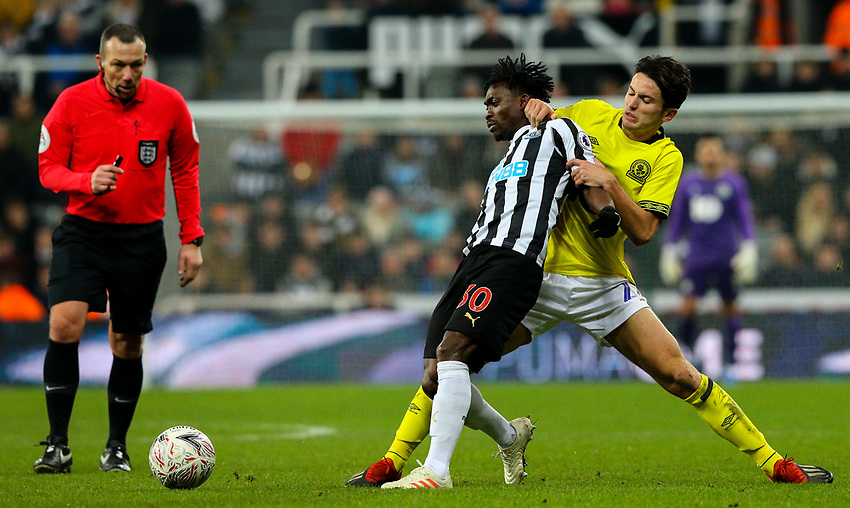 Blackburn Rovers' Lewis Travis battles with Newcastle United's Christian Atsu<br /> <br /> Photographer Alex Dodd/CameraSport<br /> <br /> Emirates FA Cup Third Round - Newcastle United v Blackburn Rovers - Saturday 5th January 2019 - St James' Park - Newcastle<br />  <br /> World Copyright © 2019 CameraSport. All rights reserved. 43 Linden Ave. Countesthorpe. Leicester. England. LE8 5PG - Tel: +44 (0) 116 277 4147 - admin@camerasport.com - www.camerasport.com