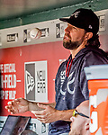 8 July 2017: Atlanta Braves starting pitcher R.A. Dickey sits in the dugout during a game against the Washington Nationals at Nationals Park in Washington, DC. The Braves shut out the Nationals 13-0 to take the third game of their 4-game series. Mandatory Credit: Ed Wolfstein Photo *** RAW (NEF) Image File Available ***
