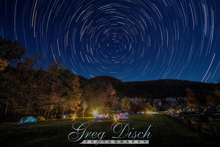 Startrails over Steel Creek Campground in fall, on the buffalo National River in Arkansas.
