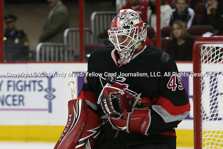 02 November 2008: Carolina's Michael Leighton bobbles the puck. The Carolina Hurricanes defeated the Toronto Maple Leafs 6-4 at the RBC Center in Raleigh, NC in a 2008-09 National Hockey League regular season game.