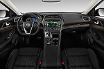 Stock photo of straight dashboard view of 2016 Nissan Maxima Platinum 4 Door Sedan Dashboard